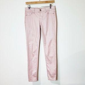 White House Black Market Pink Shimmer Skinny Jeans